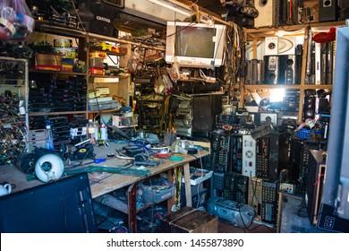Duong Lam, Vietnam - CIRCA June 2019: A store/shop for fixing broken electronics in Duong Lam ancient village, Vietnam.