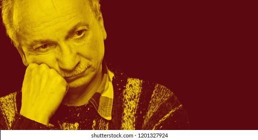 Duotone effect portrait of tired senior man