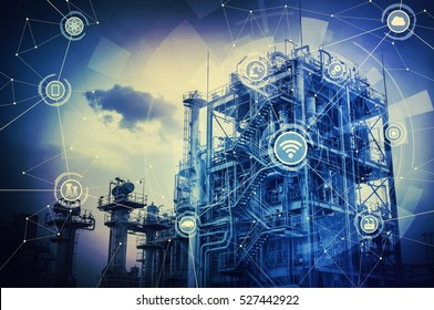 duotone graphic of smart factory conceptual abstract, Internet of Things