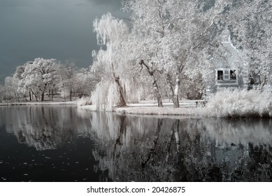 Duotone infrared lake and reflects - natural grainy picture