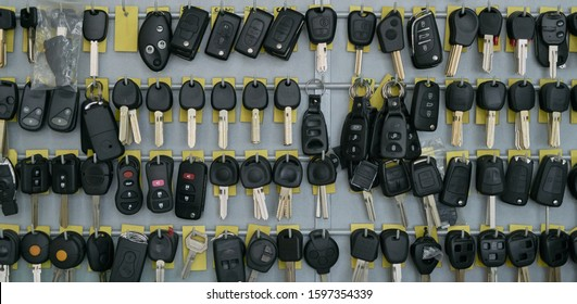 duplicates of keys of car in the wall of a locksmith's shop to be able to make the copies