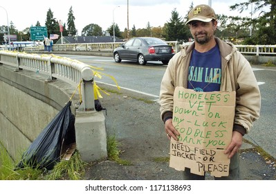Dupont, Washington / USA - October 17, 2009: A homeless veteran appealing for help outside Fort Lewis on October 17, 2009.