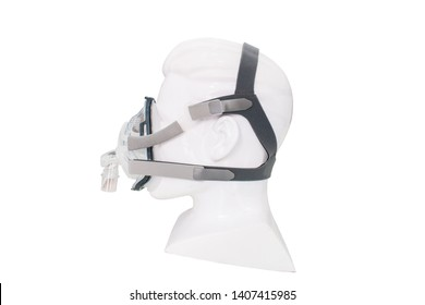 Durable mask frame in premium quality used for obstructive sleep apnea patient ,isolated on white background . Cpap mask components
