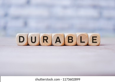 Durable word written on wood block