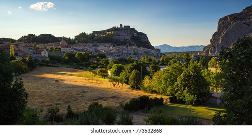 Durance Valley, Sisteron and the Citadel at sunset in Summer. Alpes-de-Hautes Provence, France