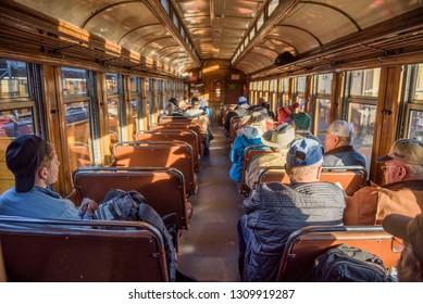 Durango, Colorado, USA - October 15, 2018 : Tourists inside the historic steam engine train from Durango to Silverton in Colorado.