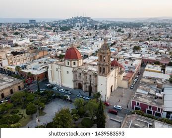 Durango, Durango / Mexico - May 2019: Beautiful aerial view of Santa Ana's church in Durango city, and skyline view