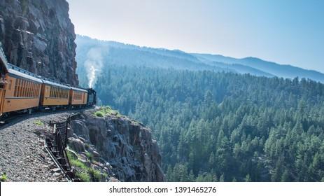 The Durango-Silverton train, Colorado (USA), moving slowy across
