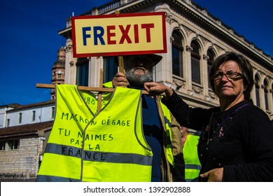 Duravel, France May 1st,, 2019: Banner held by French Gilet Jaunes, yellow vest movement, protesters calling for a Frexit, French Exit, on French Labour Day