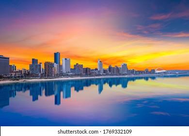 Durban city beachfront skyline during summer with twilight sky in Kwazulu-Natal SouthAfrica