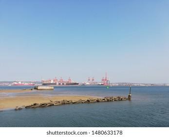 Durban city port landscape view. Transportation. South Africa. Durban city. 2019