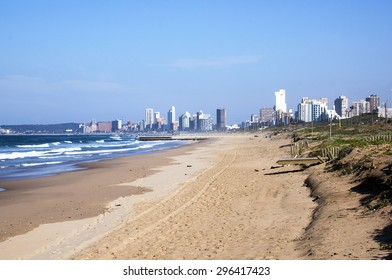 durban coastline at low tide with against city skyline