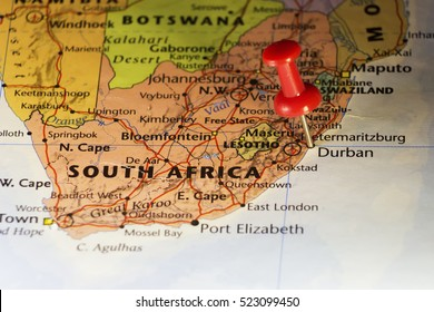 Durban destination pinned map. Copy space available.