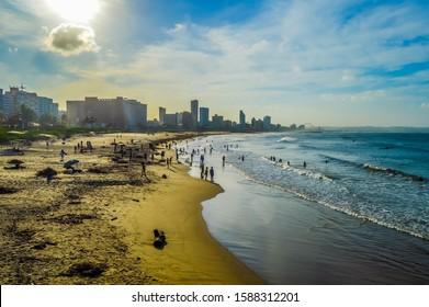 Durban golden mile beach with white sand and skyline KZN South Africa