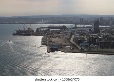 Durban, Kwazulu Natal, South Africa - September 2018: Durban Port Entrance Channel, Transnet Dredgers and The Point from Port Control Tower