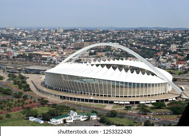 DURBAN, SOUTH AFRICA - 1 OCTOBER 2018: Moses Mabhida Stadium in Durban, South Africa. The arena was one of the host stadiums for the 2010 FIFA World Cup & has a capacity of 62,760. Editorial.