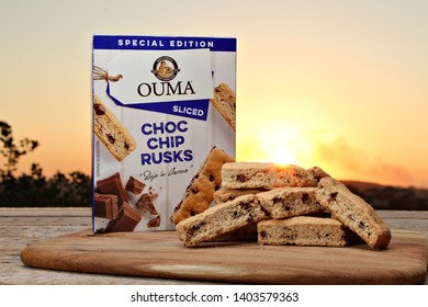 DURBAN, SOUTH AFRICA - 12 MAY 2019: A box of Limited Edition Ouma Choc Chip rusks at dawn. Ouma is an iconic South African brand and has been manufactured since 1939. Editorial.