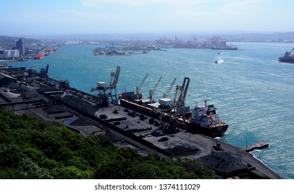 Durban, South Africa - 29 January 2019 : View across Durban harbor, South Africa