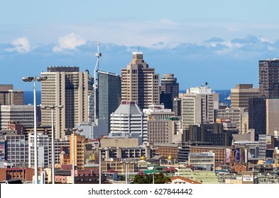 DURBAN, SOUTH AFRICA - APRIL 16, 2017: Above close up view of city and coastal skyline in Durban, South Africa