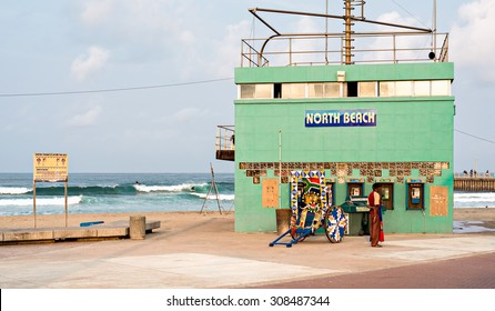 DURBAN, SOUTH AFRICA - AUGUST 17, 2015: Rikshaw at the North Beach lifesaver's station on The Golden Mile promenade