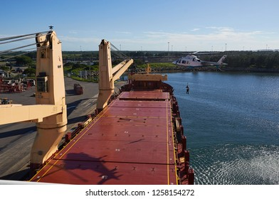 Durban, South Africa - Circa February 2018: Embarkation of pilot in Durban port by helicopter at day time on deck.