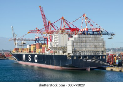 Durban, South Africa - February 04: Container vessel and cargo cranes in the port of Durban on February 04, 2016  in Durban, South Africa.
