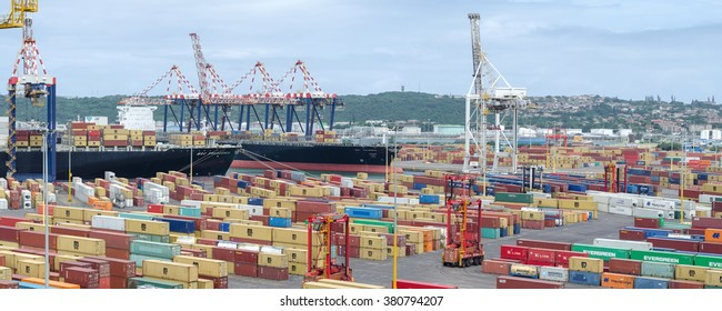 Durban, South Africa - February 04: Container terminal in port of Durban on February 04, 2016  in Durban, South Africa.