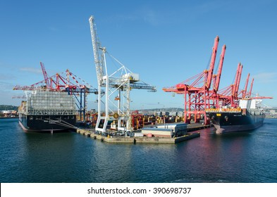 Durban, South Africa - February 04: Container vessels and cargo cranes in the port of Durban on February 04, 2016  in Durban, South Africa.