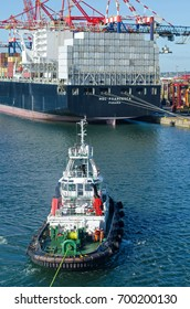 Durban, South Africa - February 04: Tugboat  during mooring operation in port of Durban on February 04, 2016  in Durban, South Africa.