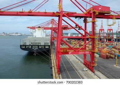 Durban, South Africa - February 04: Vessel on the berth of container terminal in port of Durban on February 04, 2016  in Durban, South Africa.