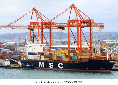 Durban / South Africa - January 28 2019 :Container vessel alongside in the port