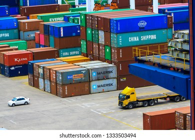 Durban/ South Africa - January 28 2019: Container Terminal of Durban