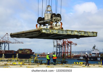 Durban/ South Africa - January 28 2019: Hatch covering a cargo hold on a container vessel
