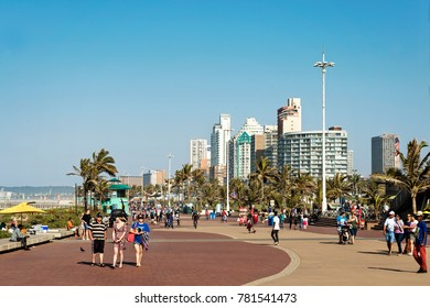 Durban - South Africa - July 2, 2017. The Durban Addington Beach Promenade is host to sports activities such as cycling and running and hikers.