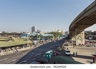 Durban - South Africa - July 2, 2017: Typical street scene in downtown On Durbans Market Precinct