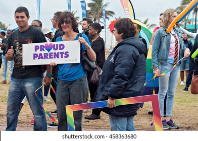 DURBAN, SOUTH AFRICA - JULY 23, 2016: Gay Pride celebration and parade at North Beach