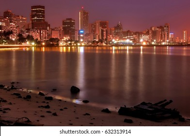 Durban South Africa long exposure night scene of the harbour and buildings