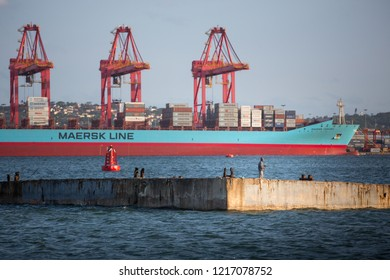 Durban, South Africa - March 17 2018: A cargo ship is docked in the harbour in Durban, South Africa. The harbour is the largest port in Africa.