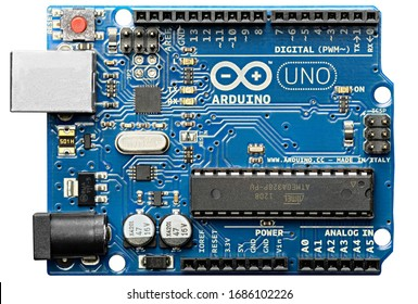 DURBAN SOUTH AFRICA - MARCH 28 2020: Arduino Uno, open source microcontroller development board, isolated on a white background