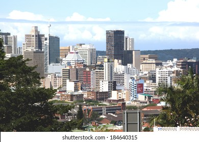 DURBAN, SOUTH AFRICA - MARCH 28, 2014: Above view cityscape of central residential and commercial buildings in Durban South Africa