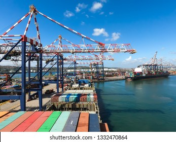 Durban, South Africa - October 15 2019: Container vessel alongside in the port