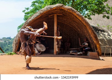 DURBAN, SOUTH AFRICA - OCTOBER 25, 2017: Traditional Zulu dances are performed in these villages of KwaZulu natal, which is the center of interest for tourists.