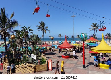 Durban, South Africa - September 29, 2018: People gather at Funworld at the beginning of Spring break in Durban.