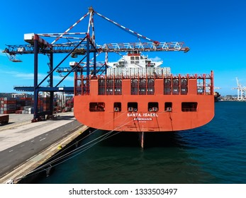 Durban/South Africa - January 29 2019: Container vessel alongside in the port