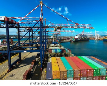 Durban/South Africa - October 18 2019: Cargo operations on board container vessel