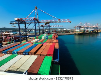 Durban/South Africa - October 18 2019: Cargo vessel alongside in the port of Durban