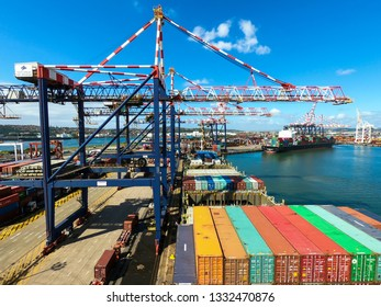 Durban/South Africa - October 18 2019: Unloading operations in the container terminal