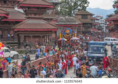 Durbar Square, Kathmandu, Nepal-September 28, 2008: Dashain festival, most important Hindu festival, the longest, grandest and favorable holiday, celebrated delightfully all over Nepal