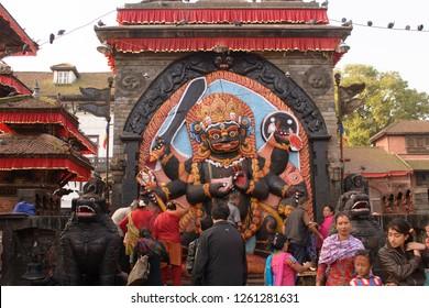 Durbar Square, Katmandu, Nepal- 09 Oct 2014: The statue of Goddess Kali at Durbar Square, Katmandu Nepal