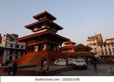 Durbar Square, Katmandu, Nepal: Oct 10 2019: Beautiful Pagoda shaped temp, in Durbor Square in Katmandu